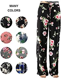 3bd3c41c30 Buttery Soft Pajama Pants for Women – Floral Print Drawstring Casual  Palazzo Lounge Pants Wide Leg