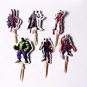 24 PCS Avengers Toppers – Superheroes Cupcake Topper – Children Party Decoration – Hero Party Supplies