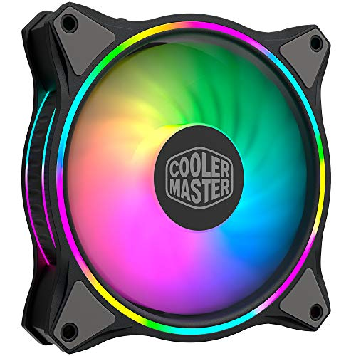 Cooler Master MasterFan MF120 Halo Duo-Ring Addressable RGB Lighting 120 mm Fan, Absorbing Rubber Pads, 4-Pin 12 V PWM Static Pressure for Computer Case & Flüssigkeit (MF120 Halo)