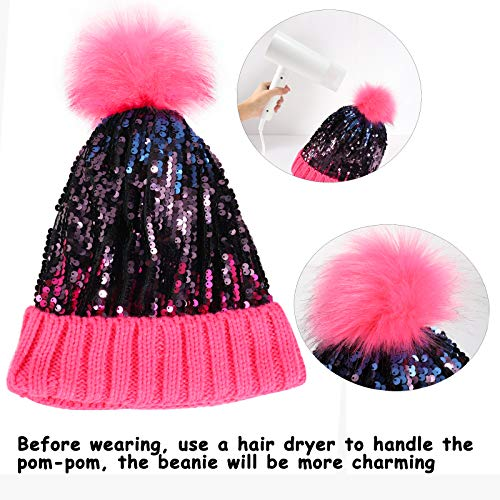 Homiton Women Sequin Knitted Beanie Hat with Faux Fur Pom-Pom Shiny Bling Skull Cap (Black)