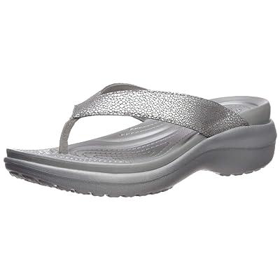 Crocs Women's Capri MetallicText Wedge Flip Flop, Silver/Silver, 7 M US: Shoes