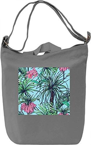 Palm Leaf Pattern Borsa Giornaliera Canvas Canvas Day Bag| 100% Premium Cotton Canvas| DTG Printing|