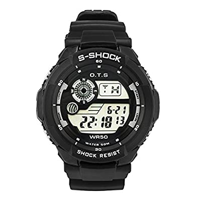 Boys Kids Sports Digital Watches Outdoor Waterproof Casual Multifunction Electronic Movement with 7 Colors LED Backlight