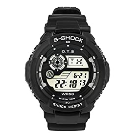 PALADA Boys Kids Sports Digital Watches Waterproof Multifunction Electronic Movement with 7 Colors LED Backlight
