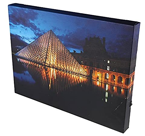 Paris Louvre at Night Wall-Hanging Canvas Wrap Artwork with LED Lighting - 11.75