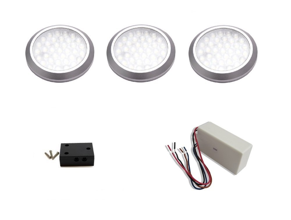macLEDs LED Stainless Steel Low Profile Under Cabinet Dimmable Puck Lights (3-Pack)