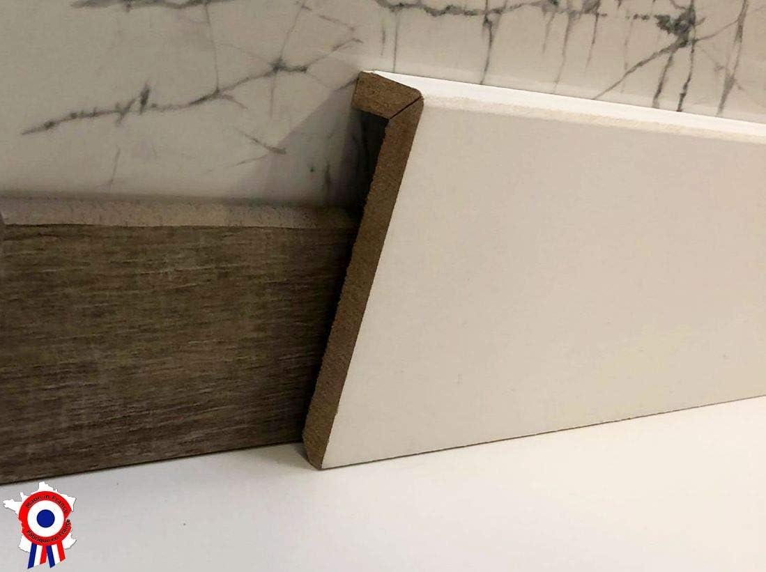 fabrication FRANCAISE Surplinthe bois 10 cm, 10 ML Hauteur 10 cm ou 13cm et longueur aux choix Plinthe /à recouvrement pr/épeinte blanche- MadeInNature