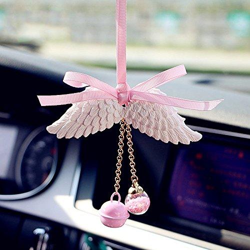 ONEVER Espejo retrovisor del coche del ala del ¨¢ngel colgante colgantes de accesorios interiores del ornamento