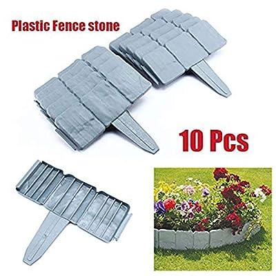 SOULONG 10 PCS Decorative Fence Border, Faux Stone Effect Landscaping Garden Edging, Spring Yard Lawn Garden Plastic Faux Stone Patio Border Edging Fence US