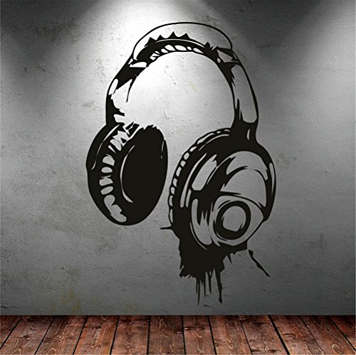 25 Home Decor Decals Stickers Wall Words Sayings Removable Lettering Headphones Music DJ for Bedroom Living -