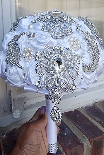 Gatsby Theme Satin Silk Roses Brooch Bouquet BCUST-GATSBY Contemporary Rose Bouquet