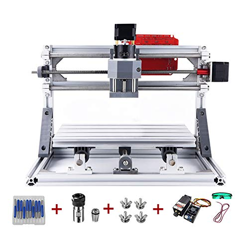 CNC 3018 GRBL DIY Mini CNC Router Machine with 5500mW 450nW Laser Module, ER11 Collet 3 Axis GRBL Laser Milling Machine Working Area 30x18x4.5cm for Engraving PVC, PCB, Plastic, Wood and Acrylic
