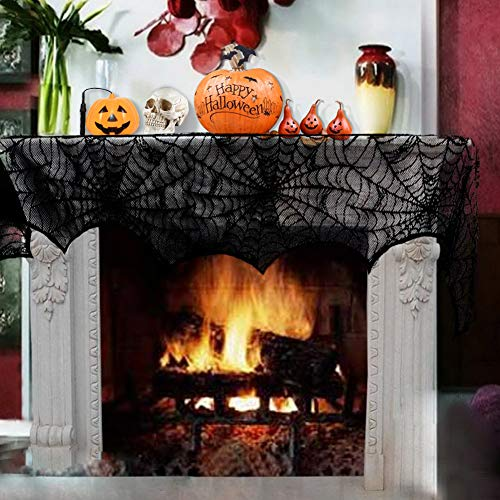 BCELIFE Spiderweb Fireplace Scarf,Mysterious Halloween Party Decoration, Black Lace Cobweb Mantle Scarf Cover for Door Window, Festive Party Supplies 18 x 96 inch (Black)