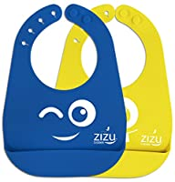 Baby Bib: Waterproof Silicone Bibs Easily Wipe Clean! Free Temperature Spoon- Comfortable soft for…