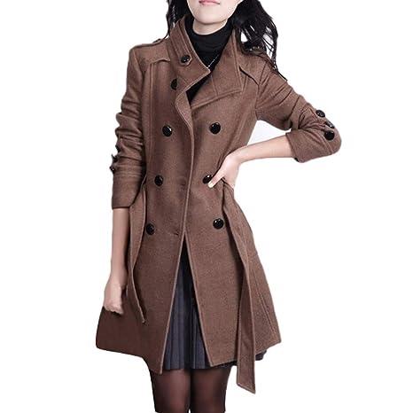 e2d334daa88 Sunward Women s Winter Double Breasted Wool Blend Long Pea Coat with Belt  (L