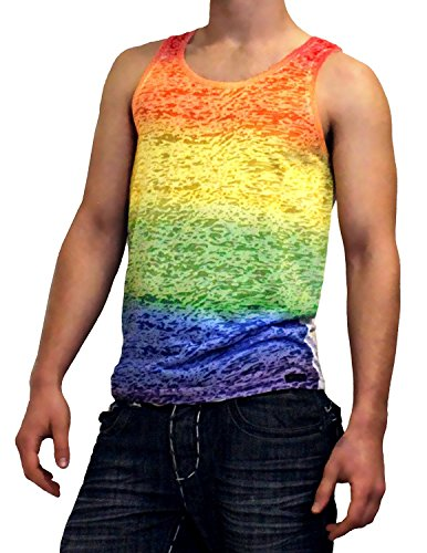 Rainbow Gay Pride Burnout Tank Top - Small