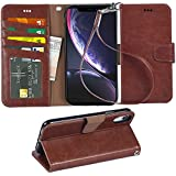 """Arae Wallet Case for iPhone xr 2018 PU Leather flip case Cover [Stand Feature] with Wrist Strap and [4-Slots] ID&Credit Cards Pocket for iPhone Xr 6.1"""" (Brown)"""