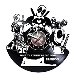 AMARAroom Deadpool - Characters - Movie Vinyl Wall Clock - Handmade Gift for Any Occasion - Unique Birthday, Wedding, Anniversary, Wall décor Ideas for Any Space