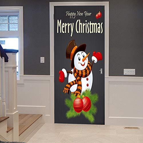 ZLD 3D Waterproof Wall Sticker Decoration, Christmas Snowman Creative Sticker Door Sticker, DIY Artist Life -