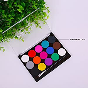 Face Body Paints Kits Kids Hypoallergenic Make Up Palette-Safe & Non-Toxic, Ideal for Halloween Party Face Painting - Easy to Wear and Remove-15 Colors with Two Fine Brush