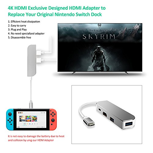 USB C Hub, Anksono HDMI Type C Hub Adapter for Nintendo Switch with Type C Charging Port, 2 USB 3.0 Port Converter Cable for MacBook Pro 2015/2016, New MacBook 12-Inch, SAMSUNG S8 other Type C Laptop
