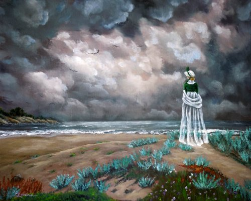 Annabel Lee Ghost on Flowering Sand Dunes Iverson Original Painting on Canvas by Laura Milnor Iverson