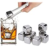 Amzdeal Whiskey Stones Reusable Wine Ice Cubes with Tongs for Wine Beer Drinks Set of 8