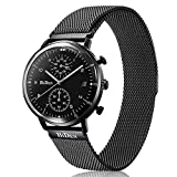 FunkyTop Quartz Analog Day Date Casual Mens Mesh Watch with Magnetic Stainless Steel Watch Band