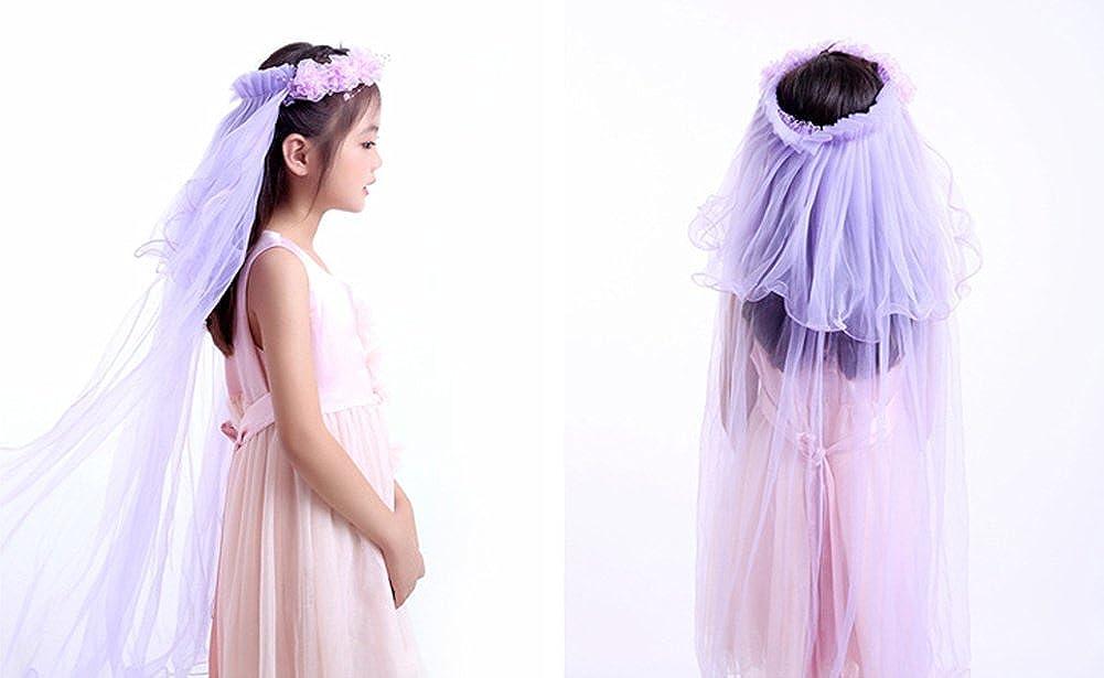 Xoemir Kids Girls Cute Long 2T Tulle Flowers First Communion Veil with Headband HUATV11-#5 Blue