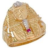 10k Two-Tone Gold Red & White CZ King Tut Egyptian Pharaoh Mens Wide Band Ring
