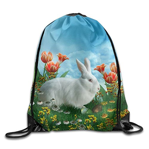 Unisex Rabbits Tulips Print Drawstring Backpack Rucksack for sale  Delivered anywhere in Canada