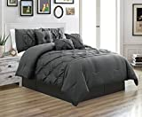 7 Piece (California) CAL KING size Solid DARK GREY / GRAY Double-Needle Stitch Puckered Pinch Pleat Stripe Includes 1 Comforter, 3 Decorative Pillows, 1 Bed Skirt, 2 Shams