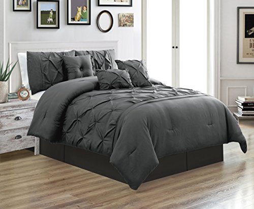 5 Piece TWIN size Solid DARK GREY / GRAY Double-Needle Stitch Puckered Pinch Pleat Stripe Includes 1 Comforter, 2 Decorative Pillows, 1 Bed Skirt, 1 Pillow Sham