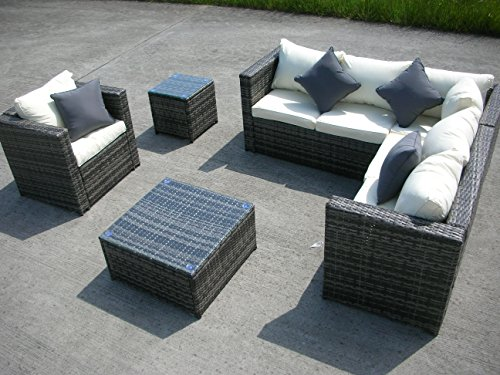 NEW RATTAN WICKER CONSERVATORY OUTDOOR GARDEN FURNITURE SET CORNER SOFA TABLE (Grey)