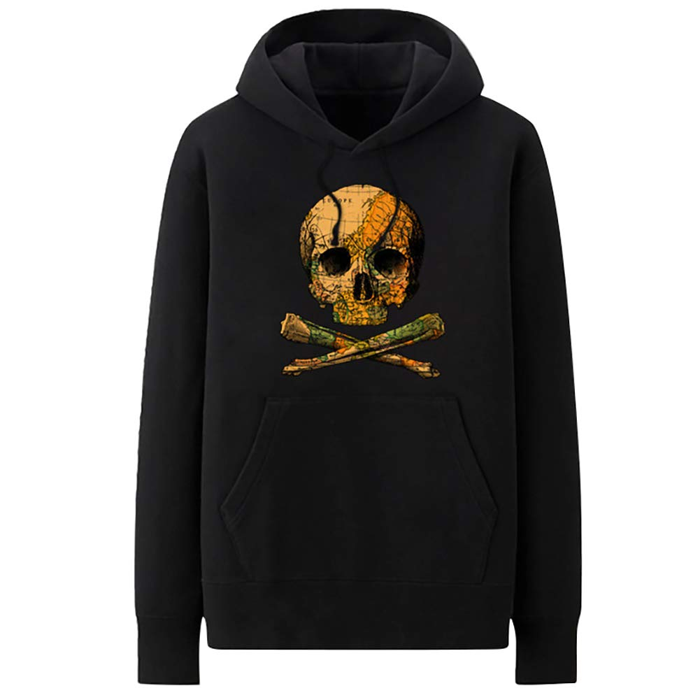 : Men's Casual Brushed Pullover 3D Printed Skull