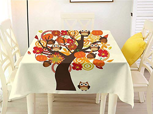 L'sWOW Square Tablecloth Vinyl Elastic Kids Thanksgiving Abstract Fall Tree with Flowers Acorns Pumpkins and Owls Generous Nature Multicolor Chairs 70 x 70 Inch Acorn Back High Chair