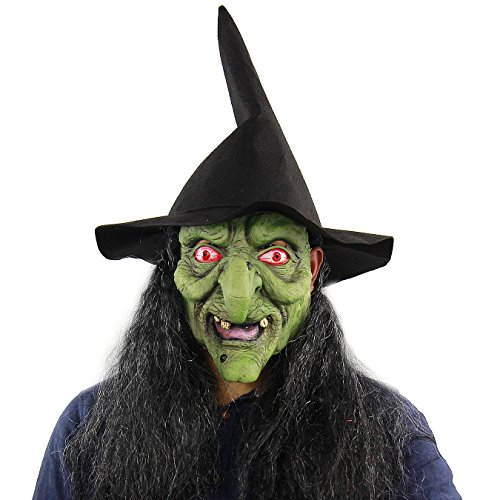 (Green Face Long Hair Witch Sorceress Mask Halloween Masquerade Party Enchantress Costume Party)