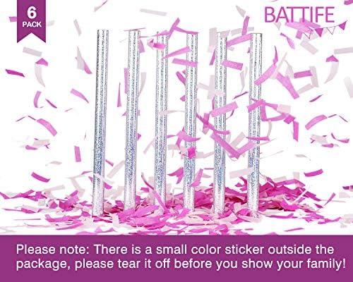 Pink Gender Reveal Confetti Sticks 8 Pack 14 inch Premium Paper
