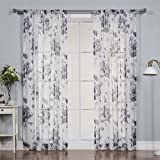 Best Home Fashion Faux Linen Watercolor Rose Print Sheers Curtains - Rod Pocket - Navy - 52'' W x 84'' L - (Set of 2 Panels)