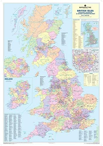 Uk Counties Large Wall Map For Business Laminated Amazon Co Uk
