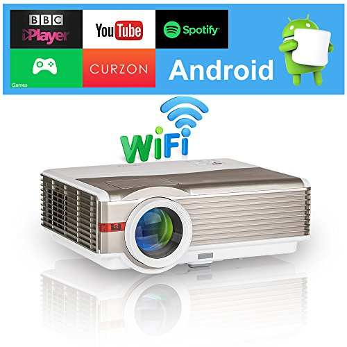 EUG 4200 Lumens Android LED LCD Video Projector WXGA High Definition 1080p 720p Wifi Home Theater Proyectors Wireless Mirror Smartphone iOS iPhone, Multimedia HDMI USB VGA for Games TV Outdoor - Keystone Ram Air