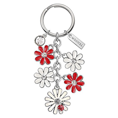 Key Keychain Ladybug Ring - Monnel Brand New White Red Daisy Flowers Ladybug Keychain with Velvet Bag Z516