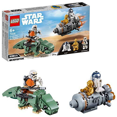 LEGO 75228 Star Wars Escape Pod vs. Dewback Microfighters Battlefront Games Set Collection with C-3PO Robot, R2-D2 and Sandtrooper