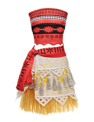 Adult Polynesian Costumes Skirt (Muababy Moana Natives Polynesian Princess Costume Dress for Adult Kids (150, children dress only))