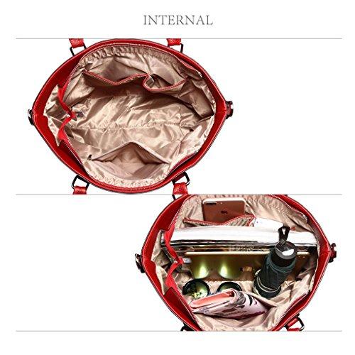 Handbags Faux BOW Handbag Bow CHARM FAUX Grab RED Bag LEATHER Leather Tote Charm BAG Women's LeahWard apRqHwYn