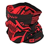 Fleece Neck Warmer, N-Rit Tube 9 Extreme 3 Multifunctional Face Mask Headwear Durable Lightweight W/ Dual Ventilation Breathing System And Ear Muff [Black/Red]