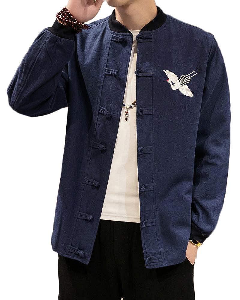 Homme Impression Veste R/étro Chinois Style Lin et Coton M/élange Manteau Costume de Tang