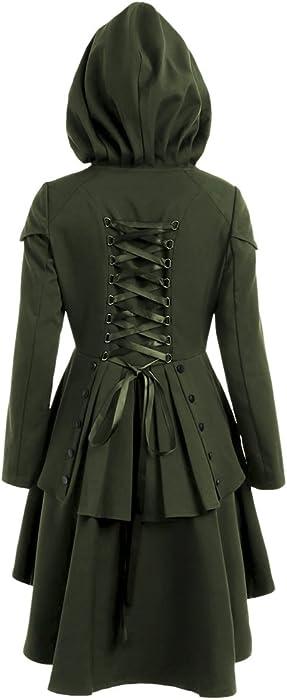 9756f8b78ec5f SKM Women s Plus Size Coats Dress Long Sleeve Layered Lace Up Back High Low  Hem Hoodies ...