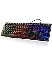 Updated Rii RK100+ 7 Color Rainbow LED Backlit Mechanical Feeling USB Wired Gaming Keyboard Black UK Layout