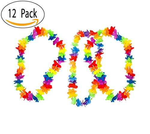 Hawaiian Neon Rainbow Flower Lei – Tropical Summer Luau Party Necklace Favors For Beach Or Pool Party, 36